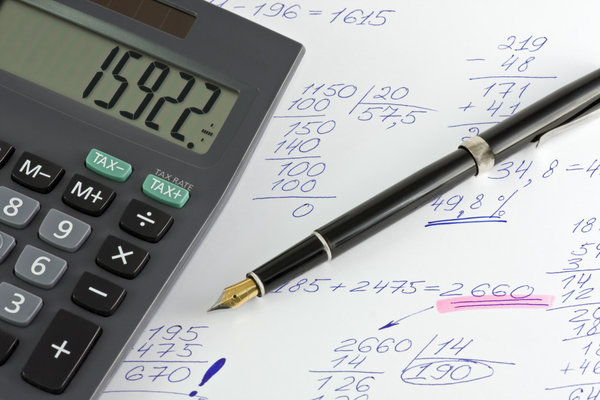 calculator and pen grip on the calculations of profit, loss, etc.