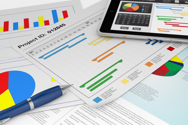 one tablet pc with a project manager app and documents with gantt and financial charts (3d render)
